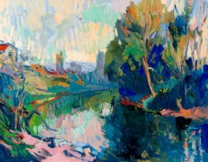 Evening over the River Uzh , 2007, oil on canvas, 60x80