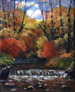 Small Waterfall In The Autumn, 1977, 55x50