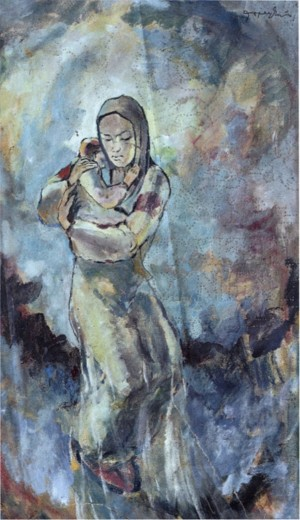 Mother with a Baby, 1940, paper, mixed technique, 62x37