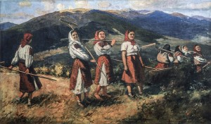 Girls On Polonyna, 1952, oil on canvas, 98x160