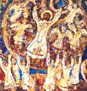 Resurrection, 2000, tempera on canvas, 100х100