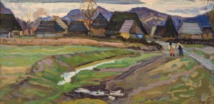 The Road To The Mill, Dulovo Village, 1958, oil on cardboard, 40,5х81
