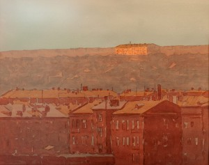 V. Hryhorov Kharkiv At Sunset', watercolour on paper