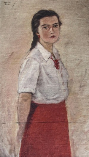 Girl In A Red Dress, 1940s, oil on canvas, 90x52