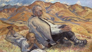 Thoughts (Grandfather And Grandson), 1965, oil on canvas, 70x140