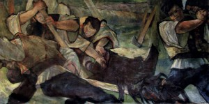 Loggers, 1940-1950, oil on canvas, 140x270