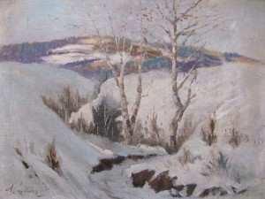 Winter, the beginning of the 1950s, oil on canvas, 61x80