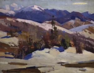 Захід сонця в горах, 1976, п.о. 60х70