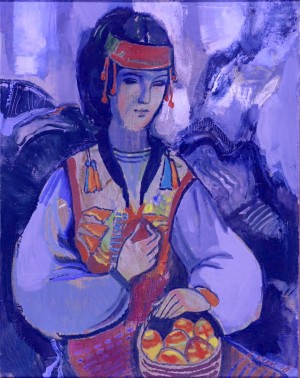 Verkhovynas Woman with Pysankas, 2008, oil on canvas, 65x70