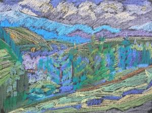 Сині гори, 1983, пап. паст., 36х48