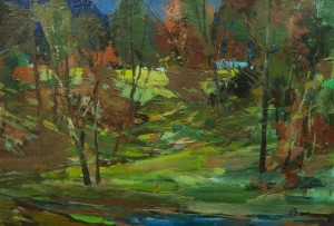 Forest Glade, 1970s, oil on cardboard, 33x48