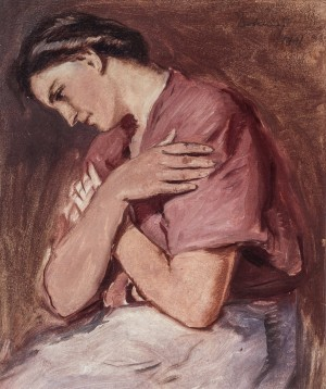 Girl Is Praying, 1941, oil on cardboard, 52x43