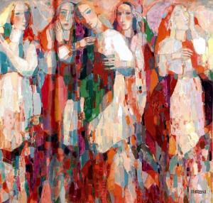 Flowers, Women, Scarves, 2008, oil on canvas, 86x100