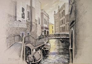 Венеційський канал, пап. ручка, 34х49