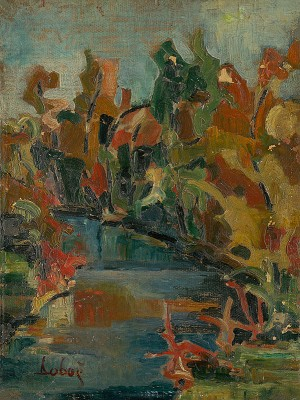 Near The Stream, 1932, oil on cardboard, 45x34