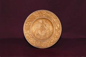 Hutsul Boy. (Shepherd), 1947, decorative plate, wood, carving, bas-relief