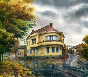 House in Pidhirna street,23 1998  watercolour