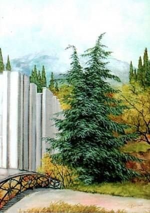 'Crimea. Frunzenske Village. Cedar', 1994, oil on canvas, 49,5х59