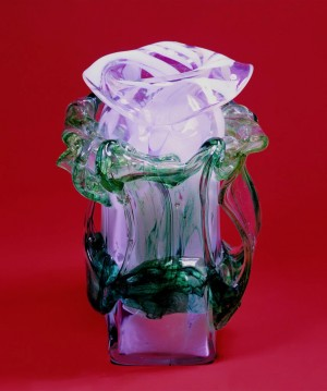 Vase Ukrainian Baroque, 1976, coloured glass, hot-glass