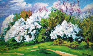 Blackthorn In Blossom,1997, oil on cardboard, 86x52