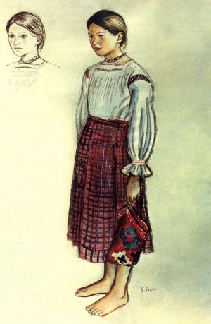 Girl With A Bag, 1936, watercolour on paper, black chalk, 45,2х31