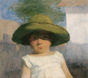 Girl With A Large Green Hat, circa 1900
