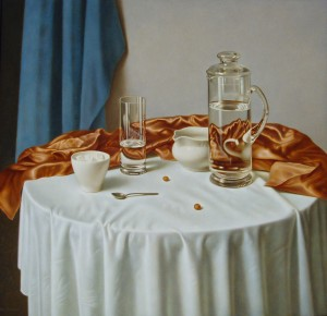 A Pitcher With Water, oil, masonite, gesso ground