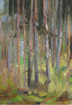 Forest, 1958, oil on cardboard, 50x34