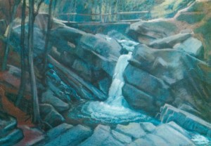 Lumshory Waterfalls 1997 pastel on paper 50x70