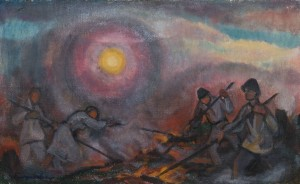 E. Kontratovych  Uprooting of forest, 1945