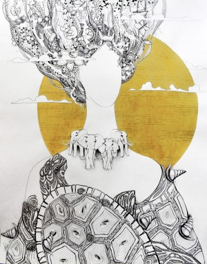 'Стара', 2010, пап.туш, перо, гел.ручка, 86х61