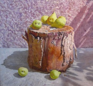 Pears on the stump oil on paper 50х52