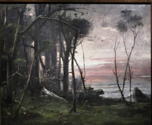 Dusk in Colpach the end of 1880s oil on board