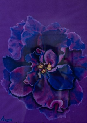 'Dreamy, Touching, The One Having A Secret – An Indigo Violet Viktoriia', 2017, pastel on paper