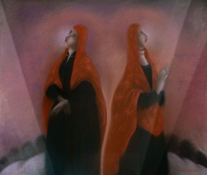 N. Ponomarenko 'Two Standing Near In Red', 1990, paper on cardboard, 60x70