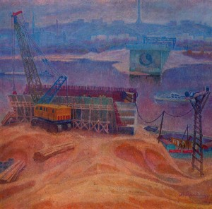 A Bridge Is Being Built On Obolon, 1973, oil on canvas