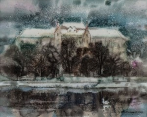 V. Skakandii Winter In Uzhhorod', 2018, watercolour on canvas, 52x65