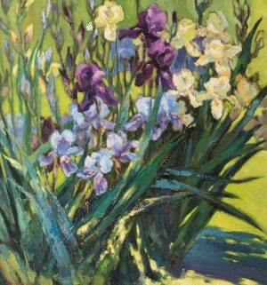 L. Slobodska 'Hungarian Irises, Sketch', 2015, oil on canvas, 70x70