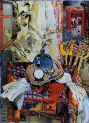 Натюрморт з годинником, 2000, пап., авт. техн., 18х15