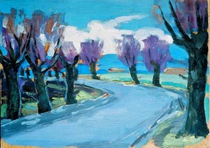Willows At The Road, the 1960s, oil on cardboard, 24,5х33,5