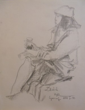'Dinara', 1987, pencil on paper, 63x49
