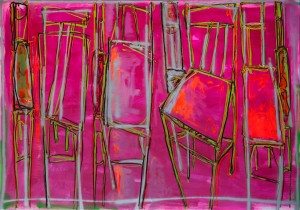M. Deyak. From The Chairs Series, 2015, oil, spray and acrylic on canvas, 140x200