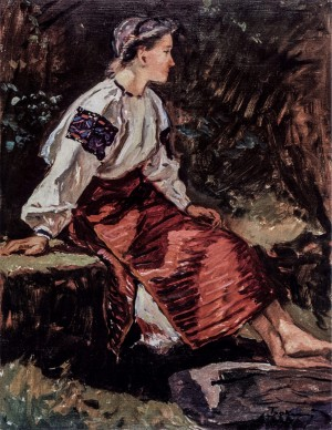 Girl, 1947, canvas on cardboard, oil, 66x50.5