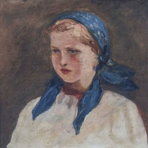 Girl, 1950s, oil on cardboard, 30x30
