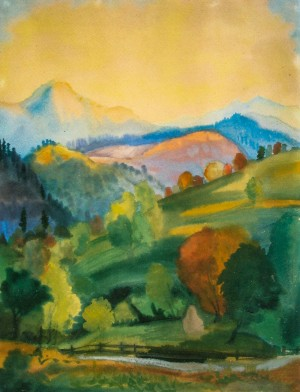 Захід сонця, 1943, пап.акв.темп. 58,5х44,5