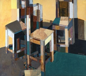 Conflict (Triptych Left Part), 2005, oil on canvas, 90x100
