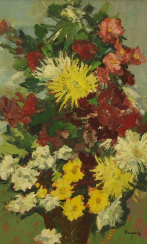 Flowers, oil on cardboard, 78x58