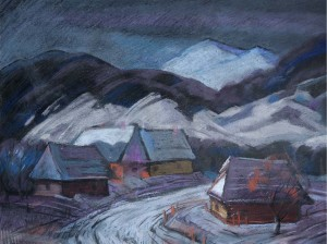 Winter Village, the 1970s, oil on canvas, 53x69