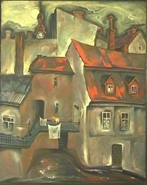 Вид з майстерні, 1985, п.воскова темпера
