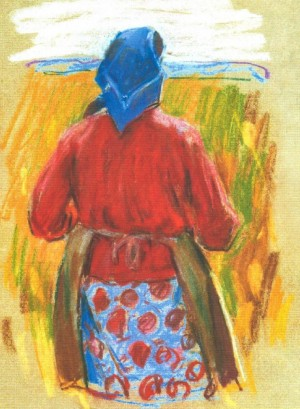 Woman From Collective Farm, 1970, pastel on paper, 40х30